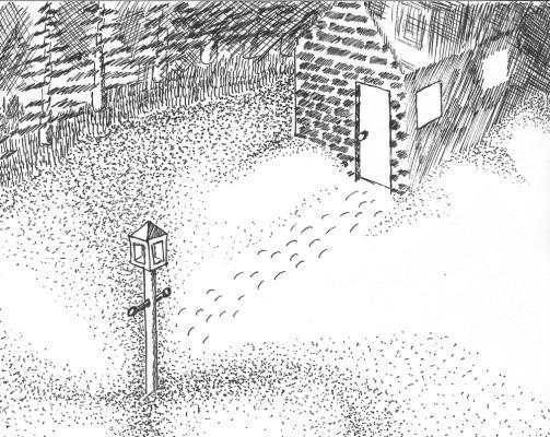Snowy night (pointillism)
