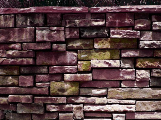 A stone wall in Phoenix, AZ | Colorized in Photoshop